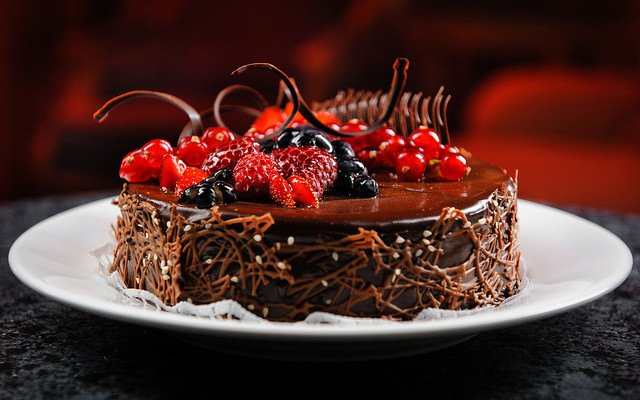 Cake with Fruit covered in oil