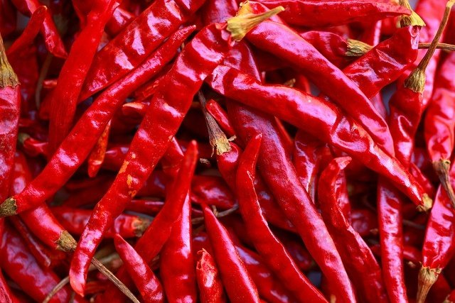 intense red chili peppers